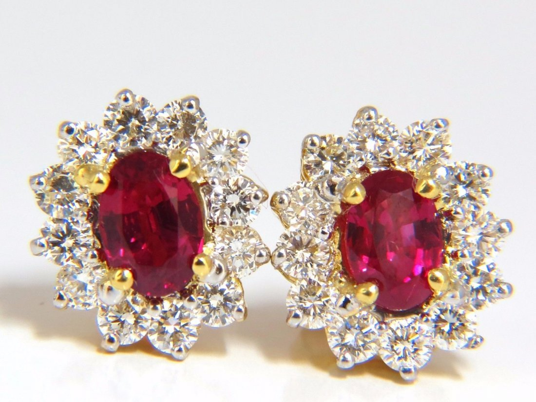GIA Certified 3.68 Natural ruby diamond earrings 18kt