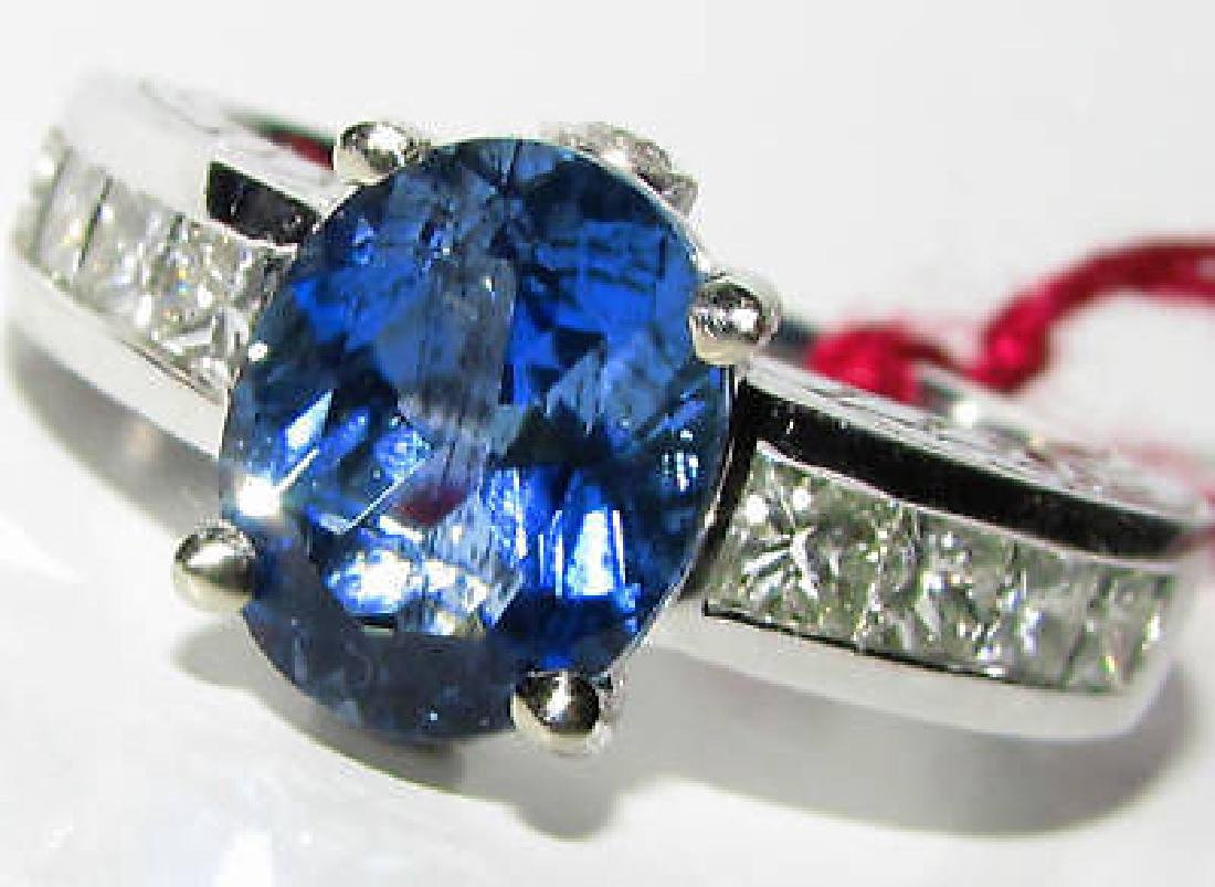 NATURAL 3.80CT AQUAMARINE DIAMOND RING VIVID BLU
