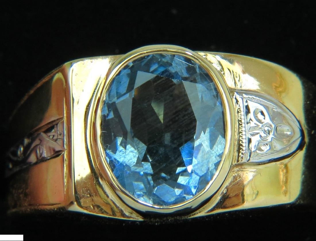 2.00ct NATURAL AQUAMARINE DIAMOND RING SOLITAIRE DECO