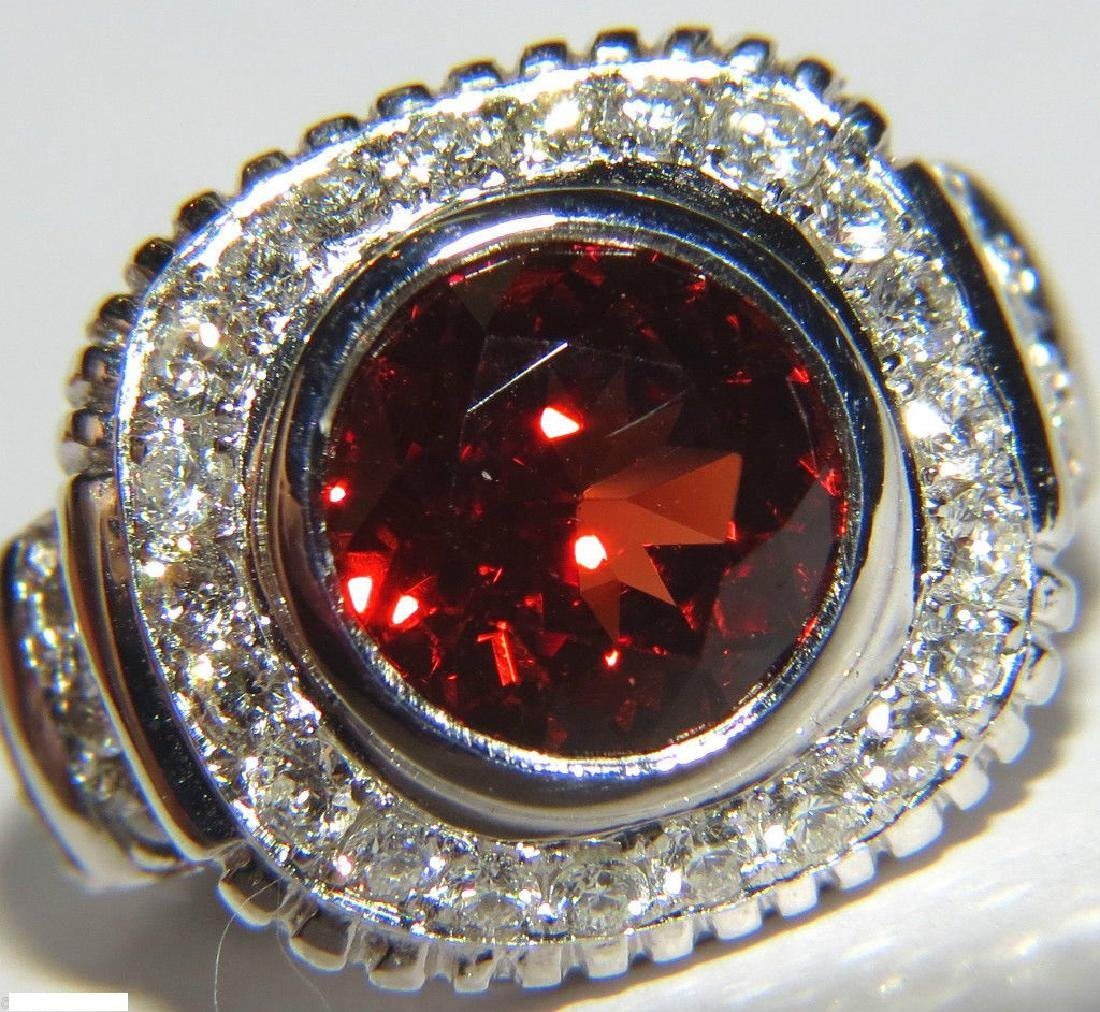 6.15CT NATURAL MANDARIN SPESSARTITE DIAMOND RING 14KT