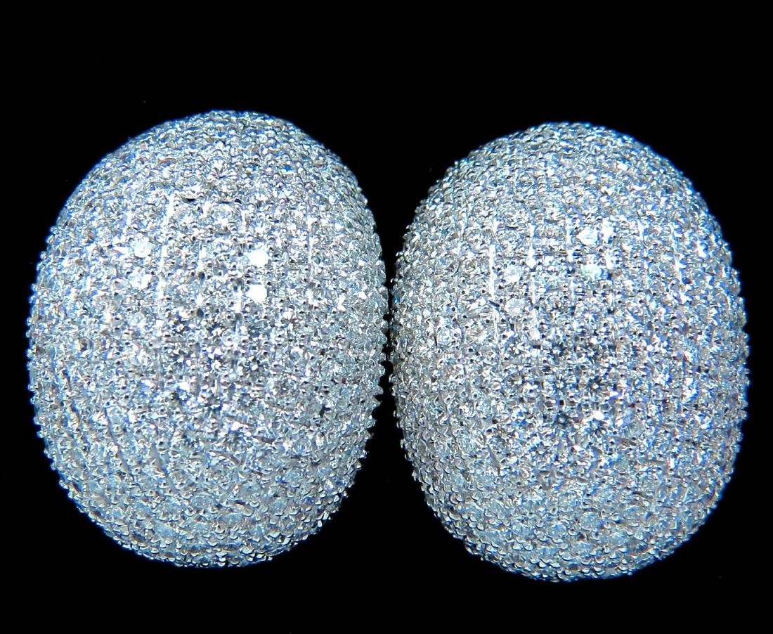 10.02CT 18KT RAISED PUFF DOMED DIAMOND CLUSTER EARRINGS