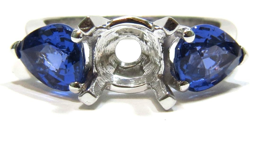 NATURAL 2.82CT BLUE SAPPHIRE MOUNTING RING 14KT WHITE