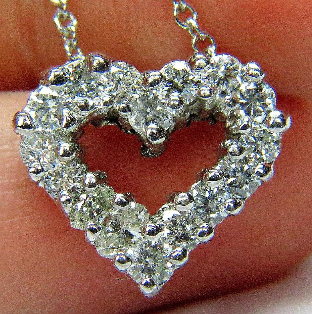 1.00CT NATURAL DIAMOND VS2 HEART PENDANT NECKLACE 14KT