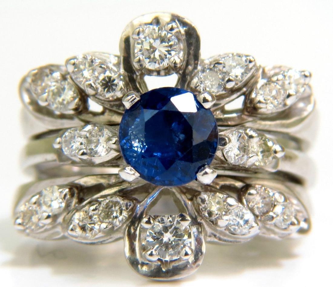 NATURAL 1.50CT SAPPHIRE DIAMOND SOLDERED INSERT RING 14