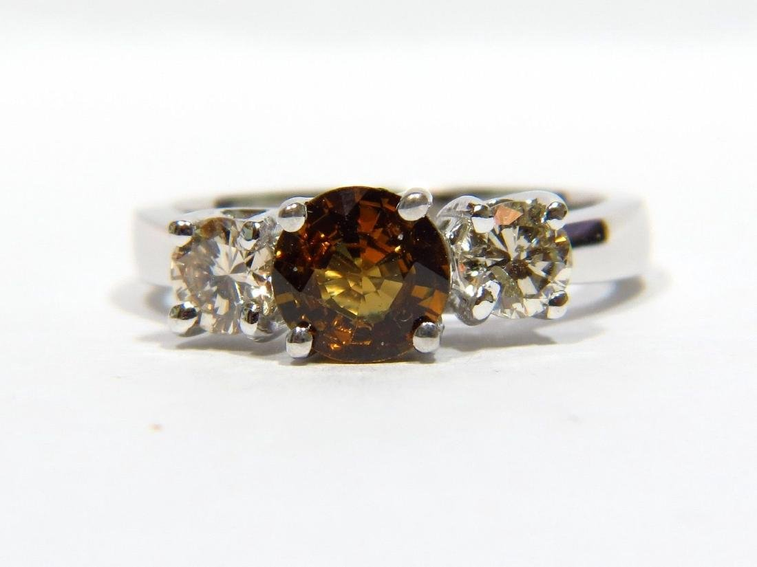 NATURAL 1.90CT FANCY SAPPHIRE DIAMOND 3 STONE RING 14KT
