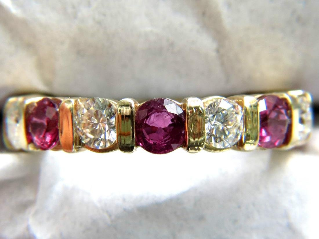 NATURAL 2.90CT RUBY DIAMOND ETERNITY BAND 14KT LADIES