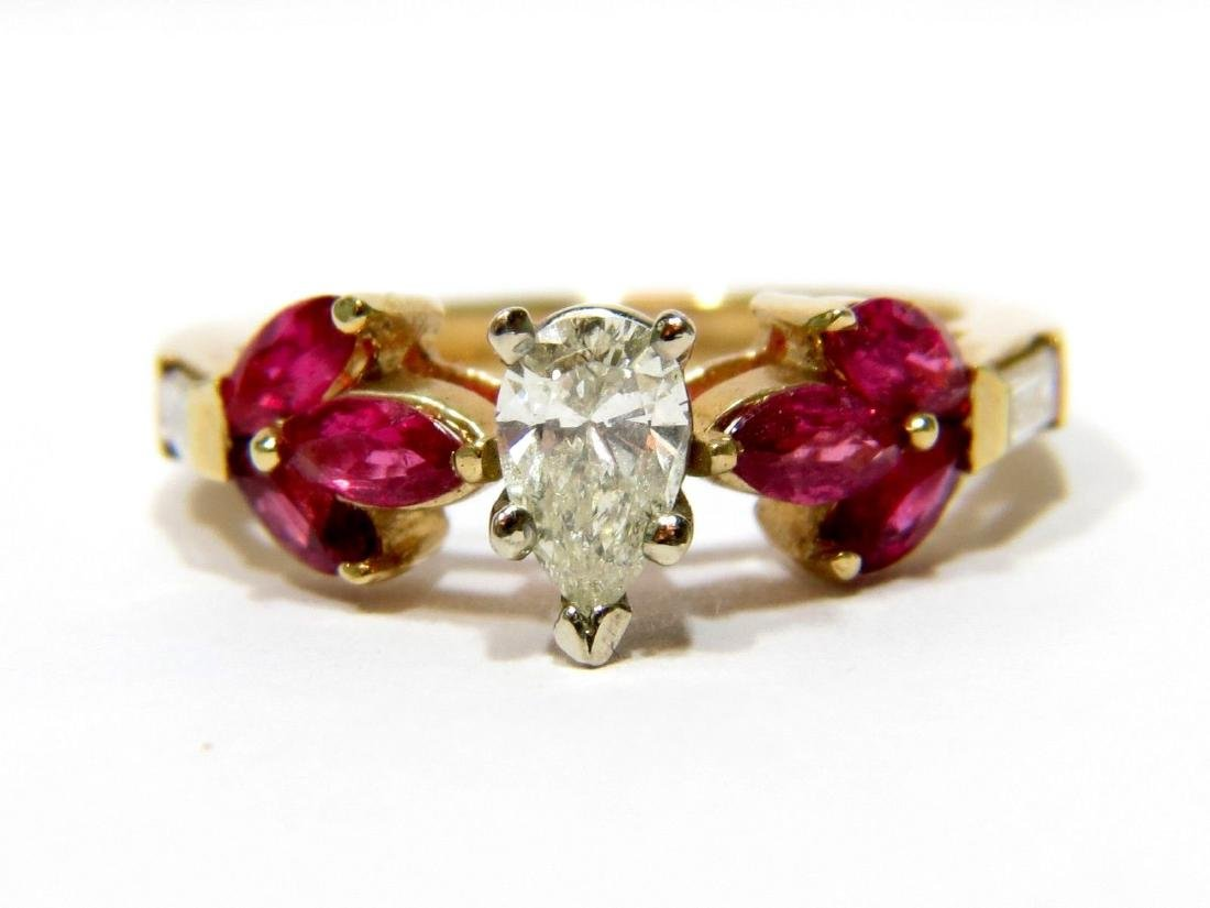 NATURAL 1.70CT DIAMOND RUBY FLOWER RING 14KT LADIES NEW