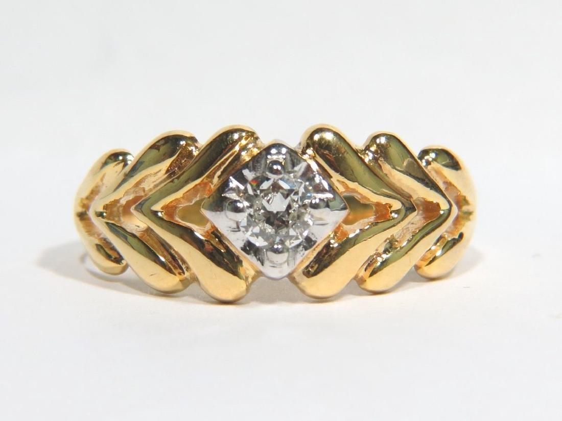 NATURAL 0.40CT DIAMOND GREEK MENS RING SIZE 13 14KT
