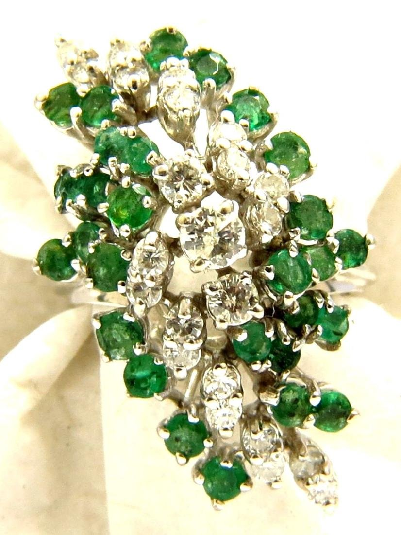 NATURAL 2.00CT EMERALD DIAMOND CLUSTER COCKTAIL 14KT