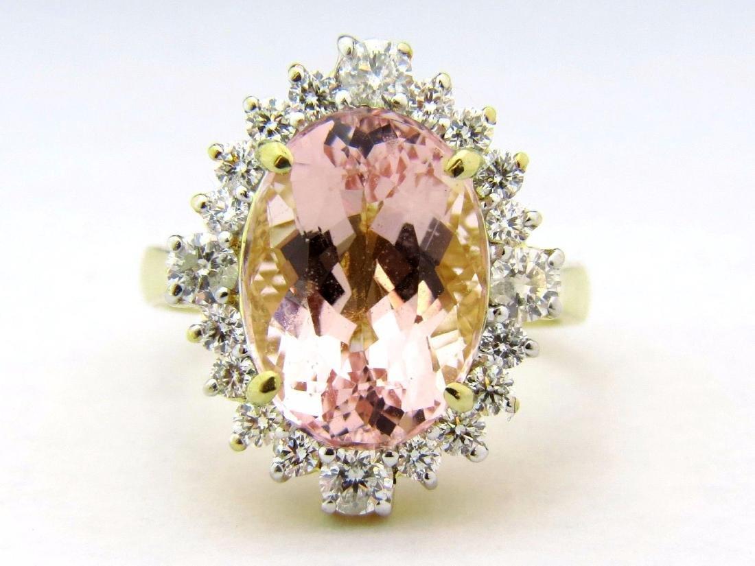 NATURAL 7.67ct MORGANITE DIAMOND RING 14kt VS2 pink