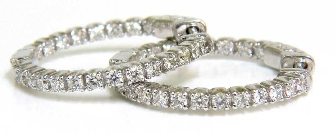 NATURAL 1.18CT DIAMONDS 14KT HOOP EARRINGS LADIES NEW