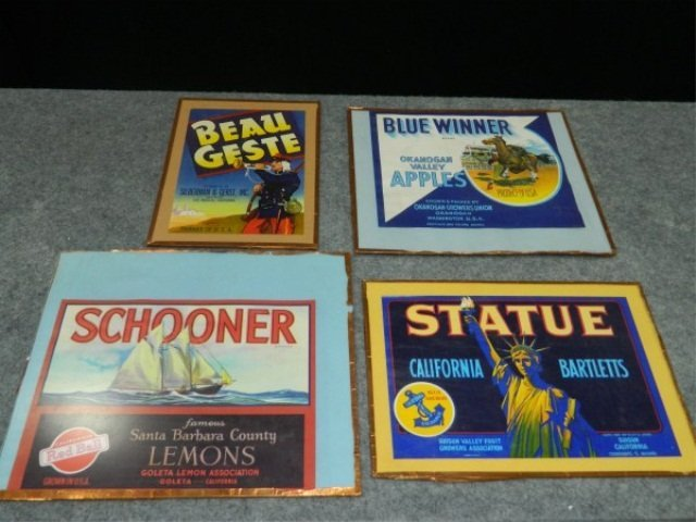21: Lot of 4 Vintage Crate Labels