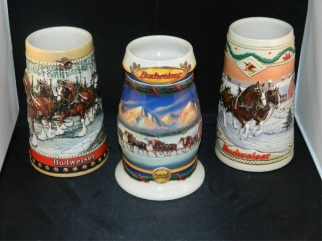50: Lot of 3 Collectible Budweiser Holiday Steins