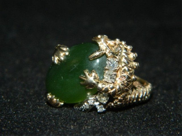 680A: 14K Gold & Jade Dragon Diamond Ring