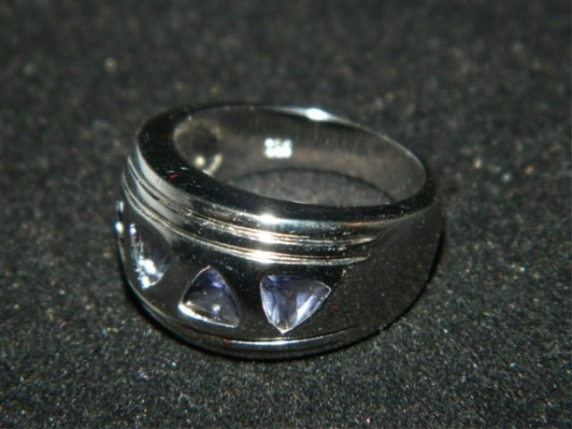 26: Heavy Sterling Silver Amethyst Band