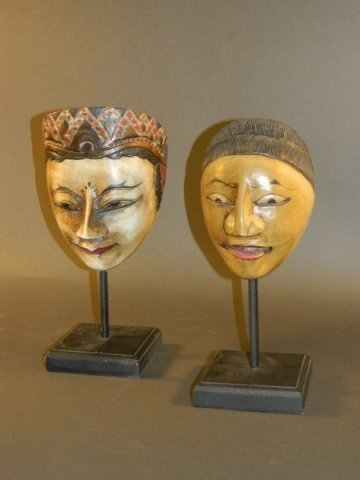 Pair of Balinese Masks on Stands