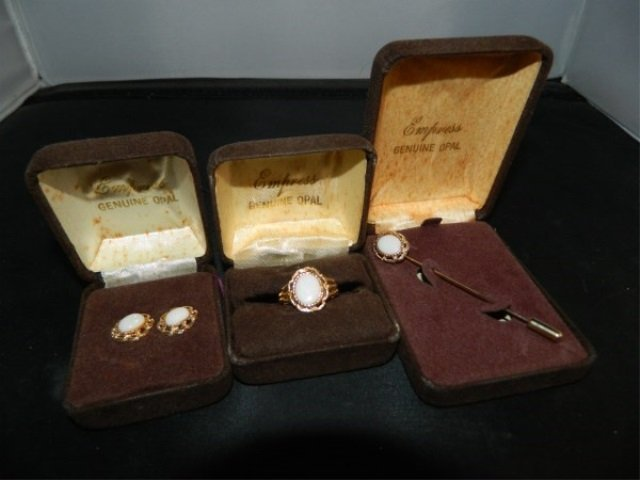 Vintage Empress Goldtone & Opal Jewelry Suite