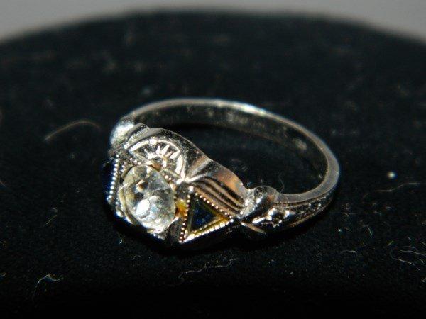 Sterling Silver Art Deco Rhinestone Ring