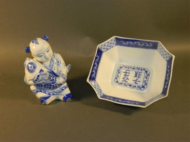 Lot of 2 Blue and White Porcelain Pieces