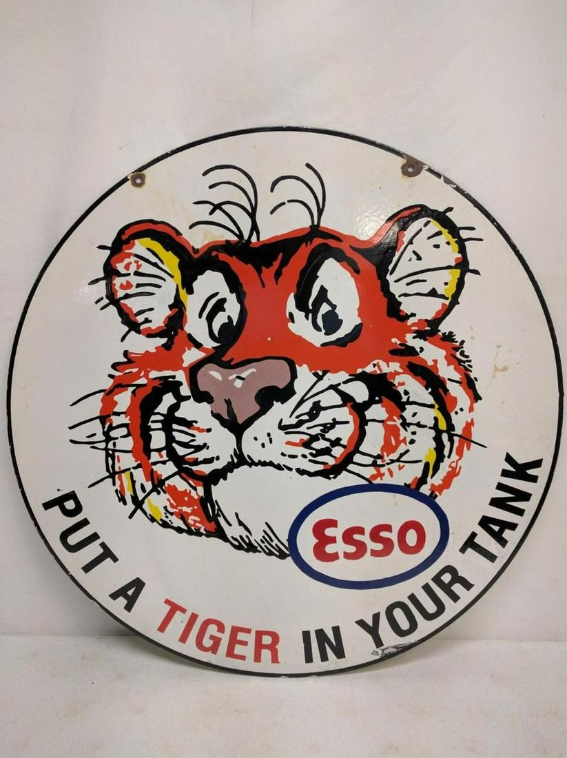 """Porcelain Esso """"Put a Tiger In Your Tank"""" sign"""