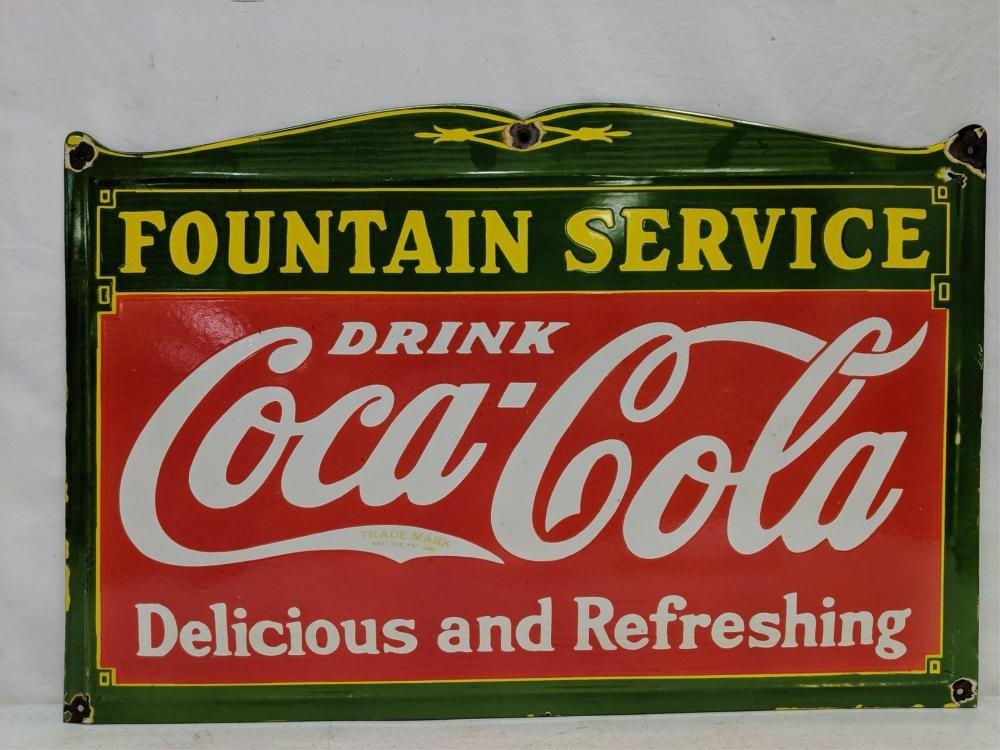 Porcelain Coca Cola Fountain Service sign
