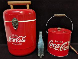 2 metal Coca Cola Ice Buckets and Ice tongs