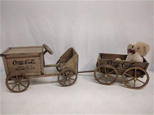 Wood Coca Cola Wagon and cart with bear