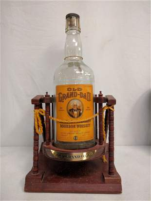Paper Label Old Grandad Bottle and stand
