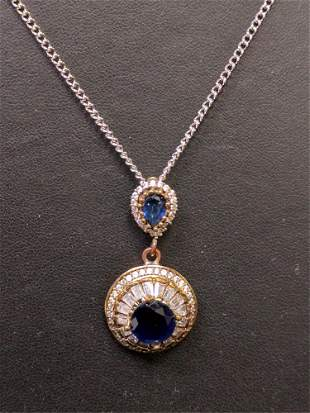 Round cut sapphire evening necklace