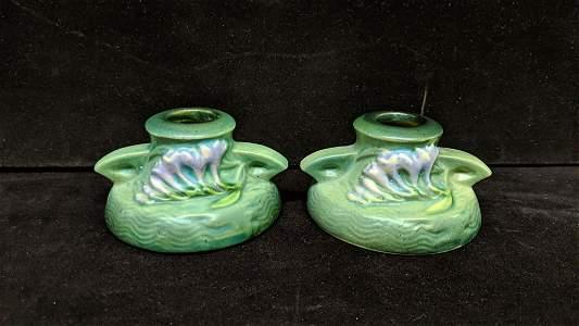 pr. Vintage Roseville Freesia Candlesticks #1160-2