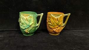 pair vintage Roseville Bushberry Mugs # 1 - 3 1/2