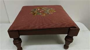 antique needlepoint foot stool