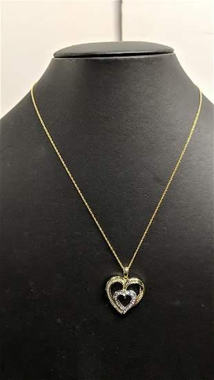 Large diamond heart necklace