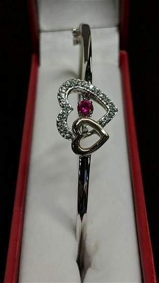 10 kt rose gold sterling double heart bracelet