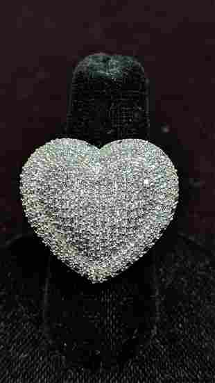 4 Ct brillian white sapphire heart ring