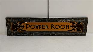 Glass Powder Room Sign