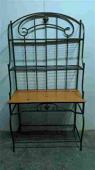 Heavy wrought iron bakers rack with wood shelves