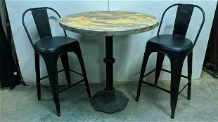English pub table with 2 metal bar stools