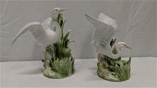 1986 pair of Fitz & floyd Crane Candle Holders