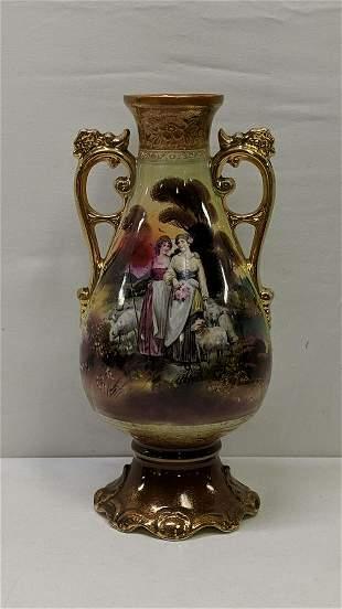 Antique English portrait vase artist signed & date