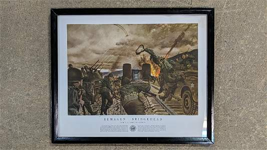 WWII print Remagen Bridgehead The US Army in Action