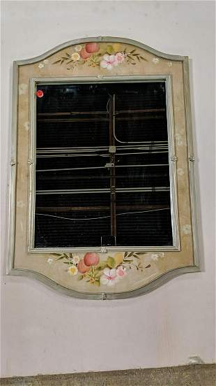 hand painted framed mirror