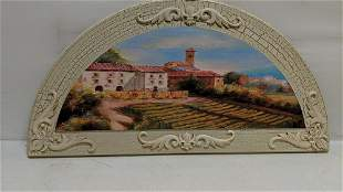 Wall Decor 1/2 moon painted plaque
