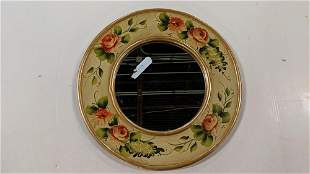 Hand painted round wall mirror
