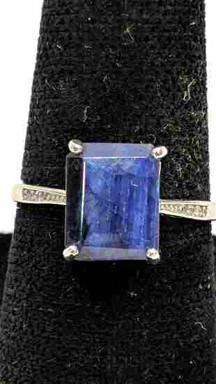 Sterling 4.48 Ct. Genuine sapphire ring