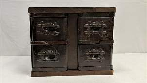 4 drawer mixed wood cabinet