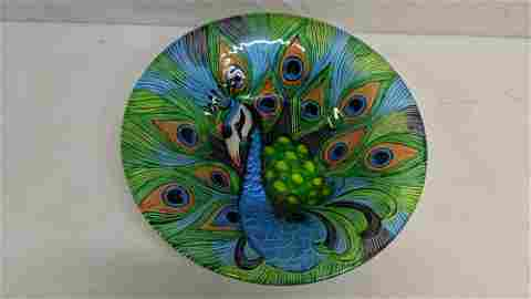 Fused Glass Peacock Bowl