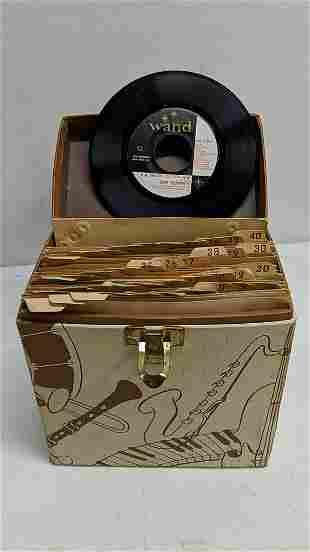 7 45 RPM records in case