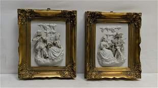 framed pair Porcelain Scenes from Castle