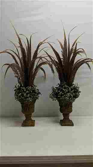 2 Matehong Large vases with artificial arrangemens